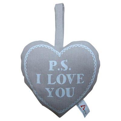 PS I LOVE YOU Print Heart Cushion