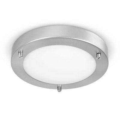 IP44 Flush Mini Bathroom Ceiling Light, Brushed Chrome