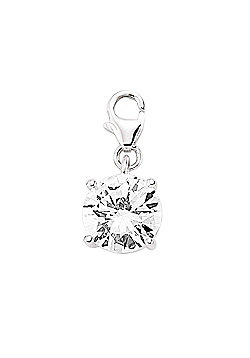 Rhodium Coated Sterling Silver CZ Solitaire Charm