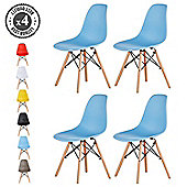 Set of 4 Modern Design Chair Eames Style Dining Chairs (Blue)