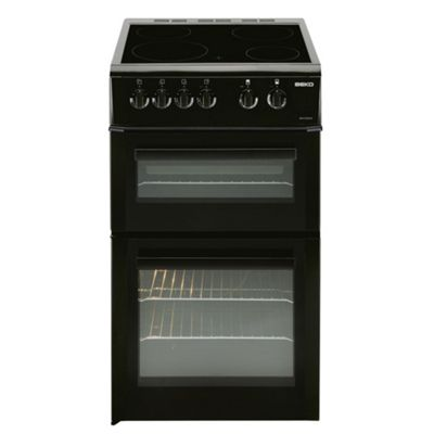 Beko Double Electric Oven and Grill, 50cm Wide, BDVC563AK - Black