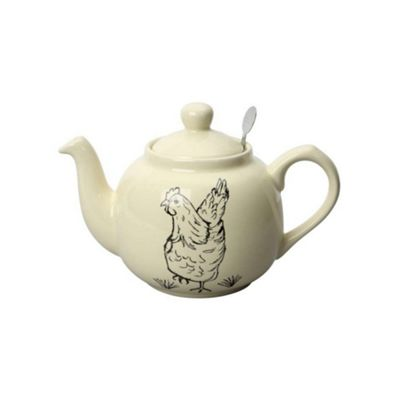 London Pottery Traditional 4 Cup Farmhouse Ceramic Filter Teapot Reverse Happy Hen