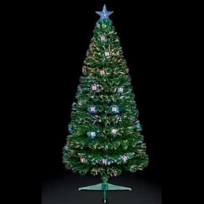 Premier 6ft Fibre Optic Multi-Colour Changing LED Christmas Tree with Parcels - 220 Tips