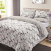 Marble Edge Duvet Cover Bedding Set, Grey - Double - Grey