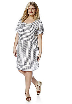 Junarose Abstract Stripe Print Plus Size Dress - White & Blue