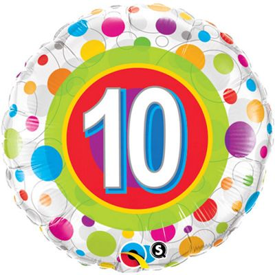 Age 10 Colourful Dots Balloon - 18 inch Foil