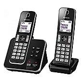 Panasonic KXTGD322EB Digital Cordless Phone, Answer Machine, Twin Dect
