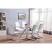 Alexa Glass And Chrome Metal Dining Table With 6 White Lorenzo Chairs