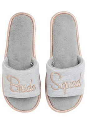 F&F Bride Squad Slider Slippers Grey Adult 5-6