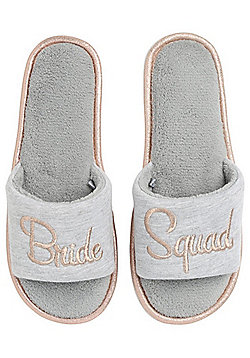 F&F Bride Squad Slider Slippers - Grey
