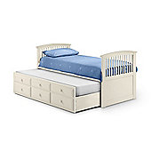 Happy Beds Hornblower Stone White Wooden 3 Drawer Storage Guest Bed and Trundle 2 Spring Mattresses 3ft Single