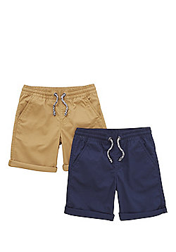 F&F 2 Pack of Drawstring Chino Shorts - Multi