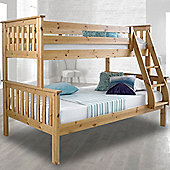 Happy Beds Atlantis Wood Kids Triple Sleeper Bunk Bed with 2 Orthopaedic Mattresses - Pine - 4ft Small Double