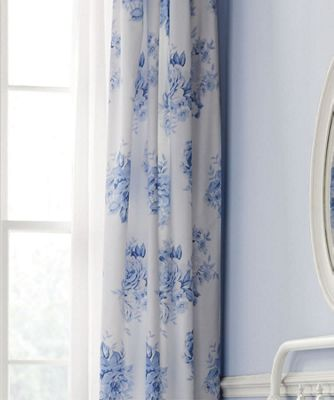 Catherine Lansfield Canterbury Floral Easy Care Curtains Blue, 66 x 72 Inch