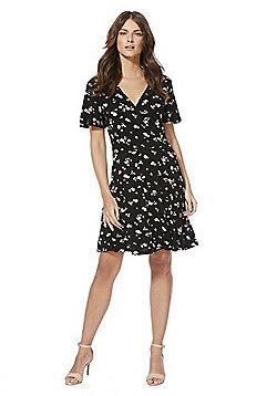 F&F Floral Print Jersey Wrap Dress - Black Multi