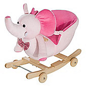 Homcom Baby Ride on Rocking Wooden Toy for Kids 2 in 1 Plush Elephant with Wheels (Pink)