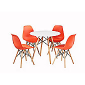Modern Design Chair Eames Style Dining Chairs (Red) with matching table