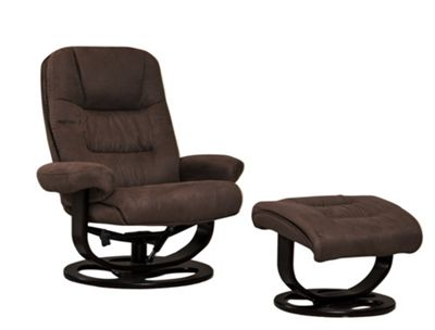 Sofa Collection Porto Swivel Chair With Massage And Heat Function And Footstool - Dark Brown