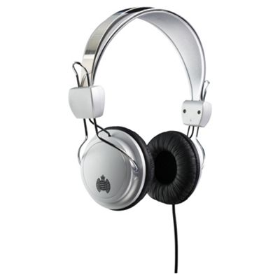 Ministry of Sound 004 headphones silver and black with blue cable