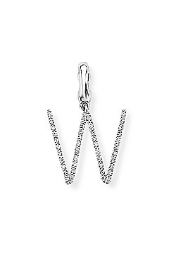 Jewelco London 9ct White Gold - Diamond - W' Versatile Initial Charm Pendant -