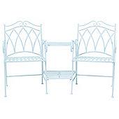 Charles Bentley Garden Ornate Wrought Iron Companion Seat - Blue
