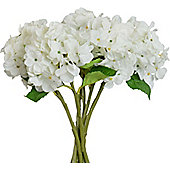 Artificial Short Stem Hydrangea Flowers In White - 37cm - Bunch Of 6 Stems