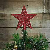 17cm Red Glitter Star Christmas Tree Topper Decoration