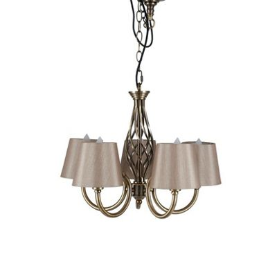 Antique Brass 5 Arm Chandelier