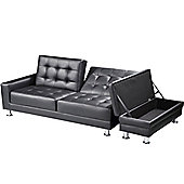 Knightsbridge Black Faux Leather Sofa Bed With Storage Ottoman
