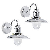 Pair of Ukai Fisherman's Wall Lights, Chrome