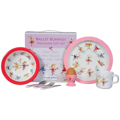 Children's Melamine Dinner Set 7 pc – Ballet Bunnies, Kids Dinner Sets - Ballet