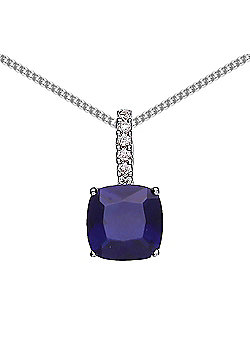 Rhodium Plated Sterling Silver Blue and White Cushion and Round Brilliant Cubic Zirconia Drop Pendant Necklace 18 inch