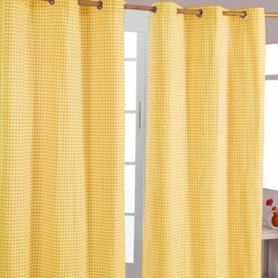 Homescapes Cotton Gingham Check Yellow Ready Made Eyelet Curtains, 117 x 137 cm