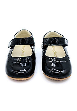 Patent Black Leather Mary Jane Baby Shoes by Dotty Fish - Black