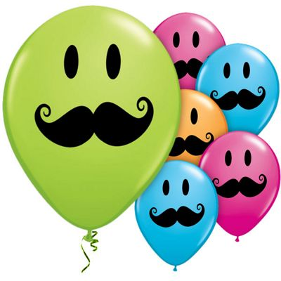 Smile Face Moustache 11 inch Latex Balloons - 50 Pack