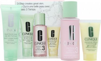 Clinique 3-Step Skincare Gift Set 50ml Liquid Facial Soap Oily Skin Formula + 100ml Clarifying Lotion 3 Combination Oily + 30ml Dramatically Different