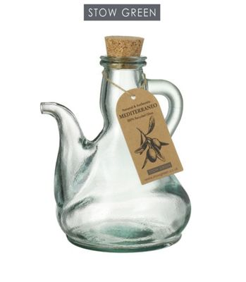 Stow Green Mediterraneo Catalan Olive Oil Bottle Dispenser Clear Green Recycled Glass Large 500ml