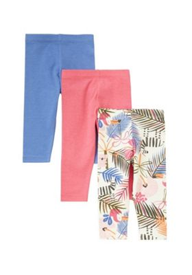 F&F 3 Pack of Plain and Tropical Print Leggings Multi 6-9 months