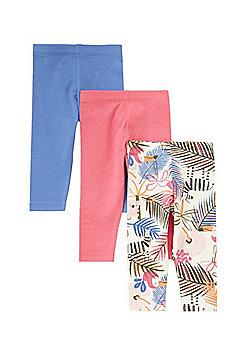 F&F 3 Pack of Plain and Tropical Print Leggings - Multi