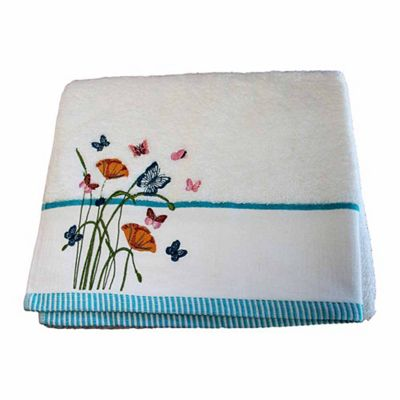 Homescapes Egyptian Cotton Embroidered Butterfly White Bath Towel