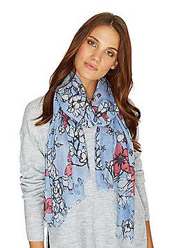 F&F Floral Print Frayed Hem Scarf - Blue