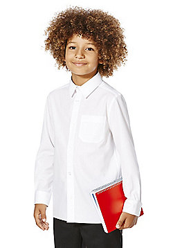 F&F School 2 Pack of Boys Stain Resistant Non Iron Long Sleeve Shirts - White