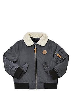 F&F Borg Collar Aviator Jacket - Grey