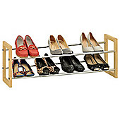 EHC Wood And Chrome 2 Tier Extendable Shoe Rack