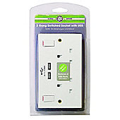 Pifco Double wall Socket with USB Charger