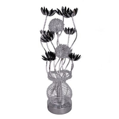 Aluminium Flower Table Lamp, Silver & Black