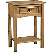 Corona Mexican Style 1 Drawer Console Table with Shelf Distressed Waxed Pine