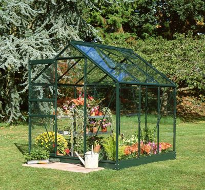 Halls 6x6 Popular Greenframe Greenhouse + Green Base-frame - Horticultural Glass
