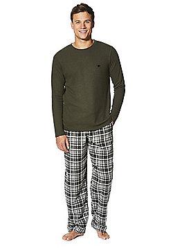 F&F Checked Flannel Loungewear Set - Khaki