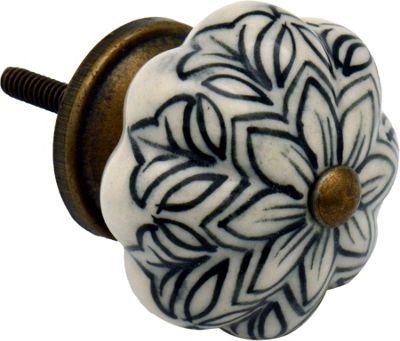 Ceramic Cupboard Drawer Knob - Vintage Flower Design - Black